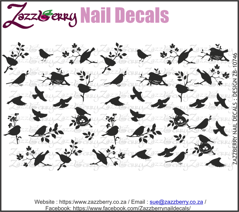 Birds in Branches Silhouettes (Black/White/Foil)