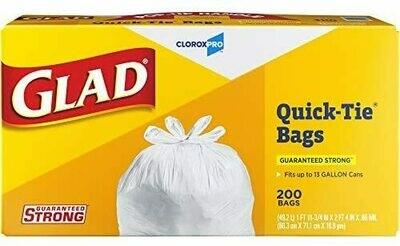 * Glad Tall Kitchen Quick-Tie Trash Bags, 13 Gallon, 200 Count