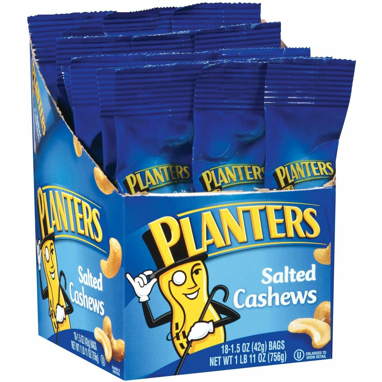 * Planters Salted Cashews Tube 18 Count