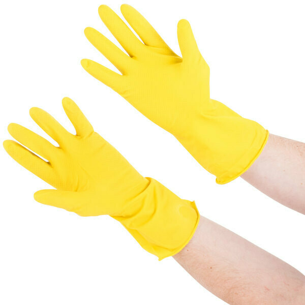 * Skyline Yellow Flocked Lined Gloves, Size Medium 6 Pair