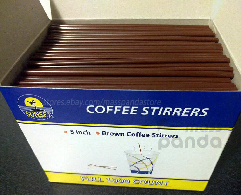 """* Sunset Brown Coffee Stirrers, 7"""" 1000 Count"""