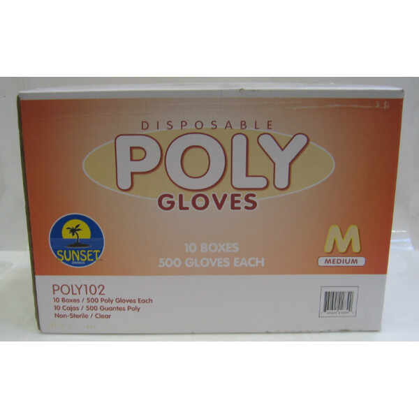 * Sunset Poly Gloves, Size Medium 500 Count