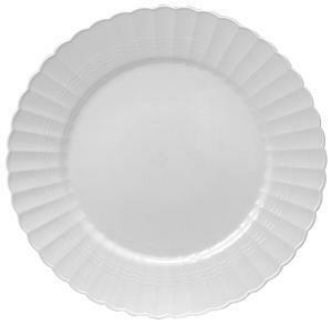 """* Yoshi Glimmerware 9"""" White & Silver Plate 10 Count"""