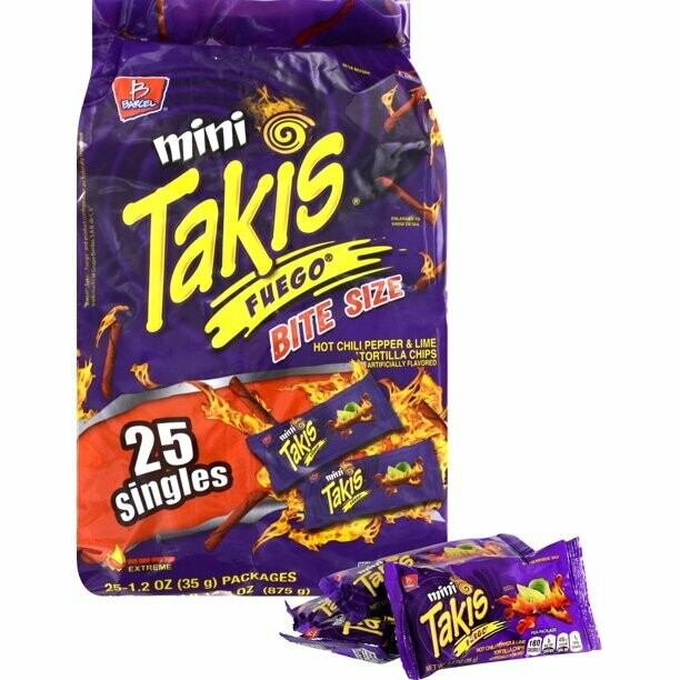 * Takis Mini Fuego Chips Club Pack 25-1 Ounces Bags