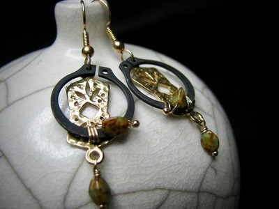 O Clamp Earrings with Gold Accent Bead