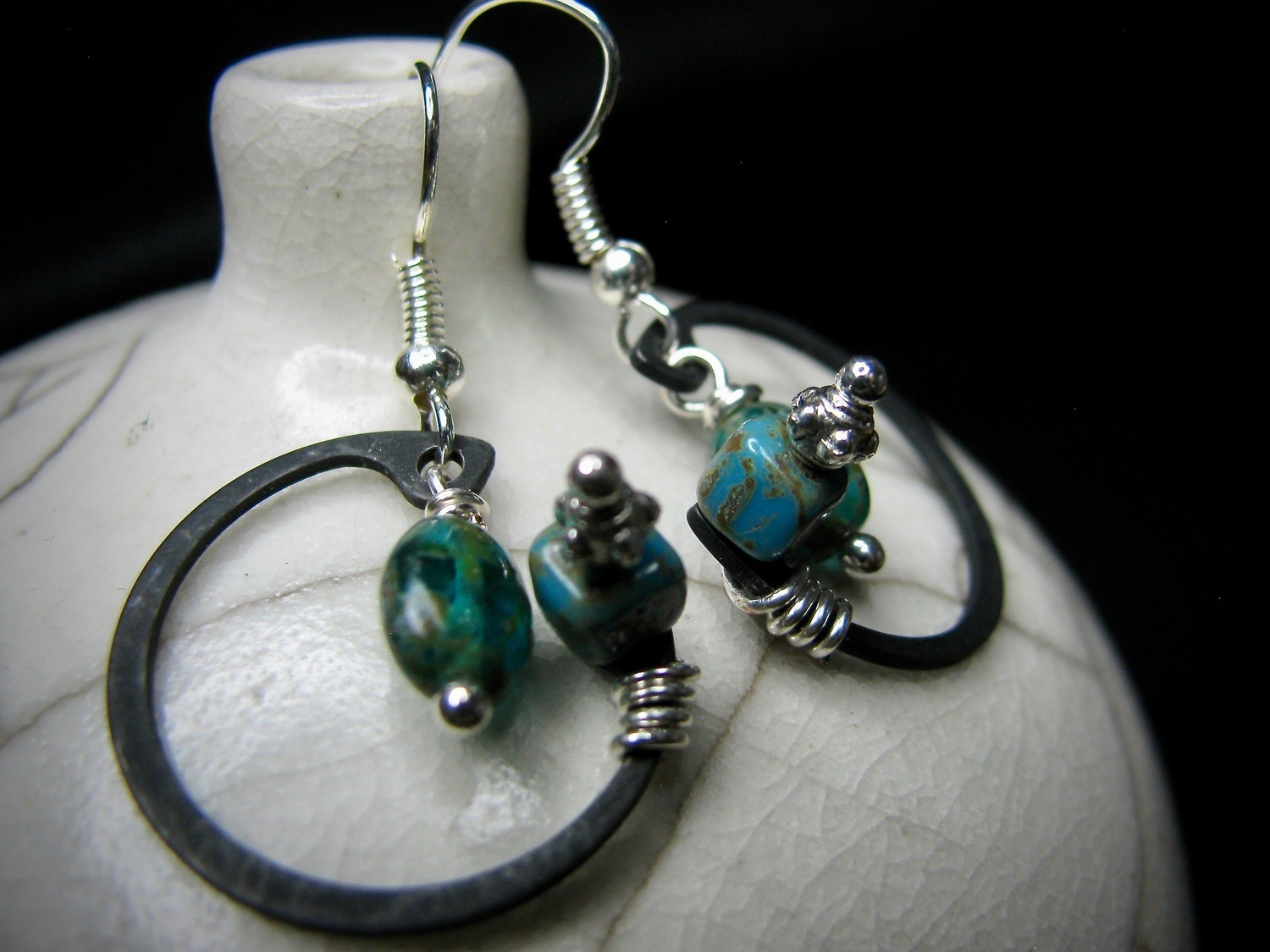 C Clamp Earrings with Turquoise Stone
