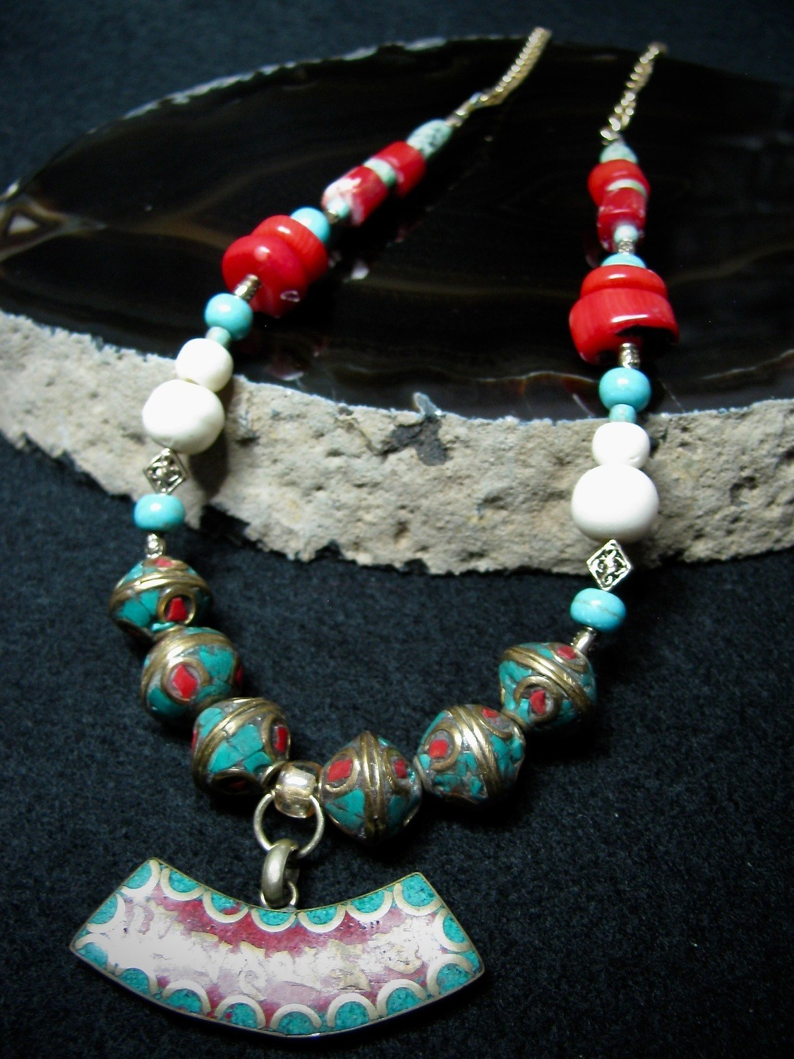 Curved Tibetan Focal Bead Necklace
