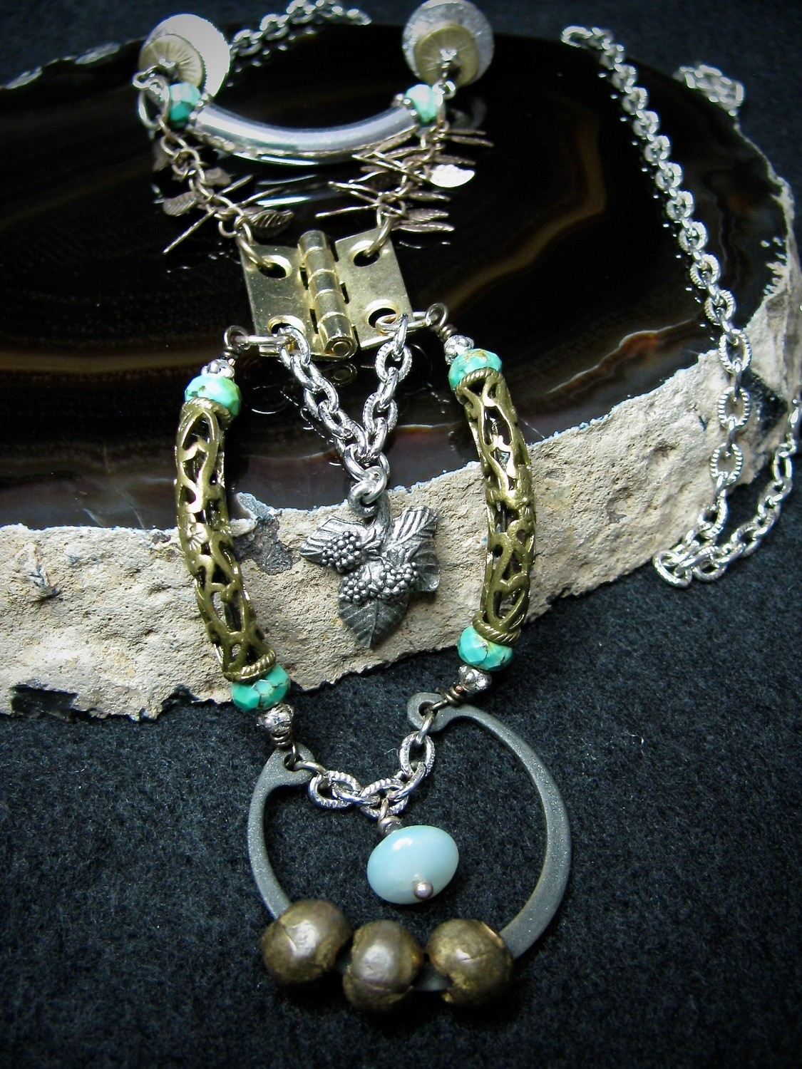 Hardware Necklace with Silver Leaf