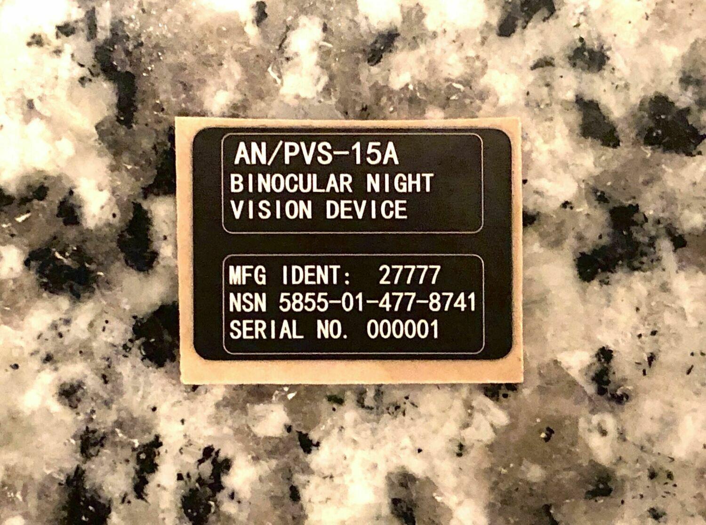 "PVS-15A Night Vision Tag .9"" x .75"""