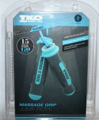 TKO Charcoal + Glacier 9ft Massage Grip Cardio Jump Rope