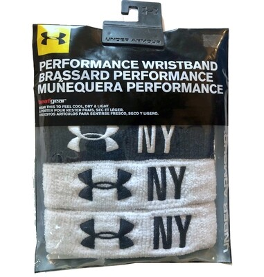 """Under Armour 1"""" Performance Navy Blue and White Wristband 4-Pack"""