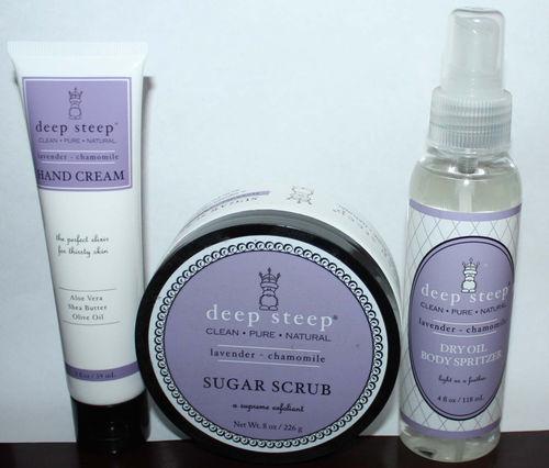 1 Deep Steep Lavender * Chamomile Hand Creams 1 Sugar Scrub 1 Dry Oil Spritzer