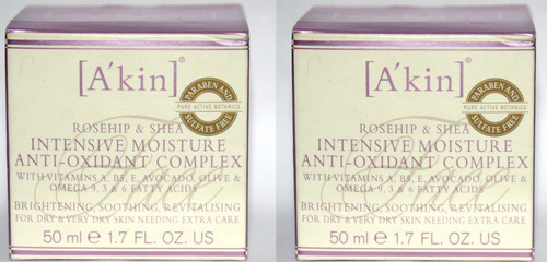 Lot Of 2 A'Kin Rosehip & Shea Intensive Moisture Anti-Oxidant Complex 1.7 oz