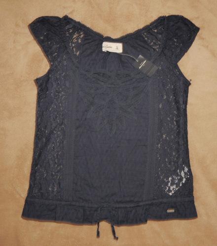 Abercrombie Kids Girl's Navy Blue All Over Lace Top Shirt (X-Large) *Reduced*