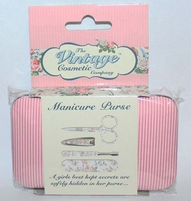 4 pc The Vintage Cosmetic Company Pink/White Candy Stripe Manicure Purse Set