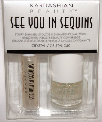 KARDASHIAN SEE YOU IN SEQUINS Lip Gloss CRYSTAL & Nail Polish #350 CRISTAL Set