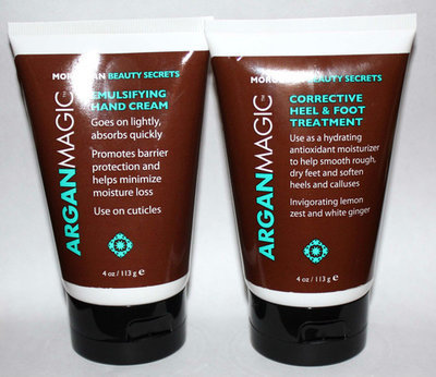 Argan Magic Emulsifying Hand Cream & Corrective Heel and Foot Treatment 4 oz each
