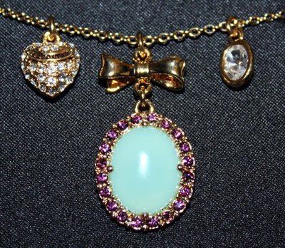 Juicy Couture TURQUOISE CABACHON Gold Tone Charm Necklace #YJRUSN17