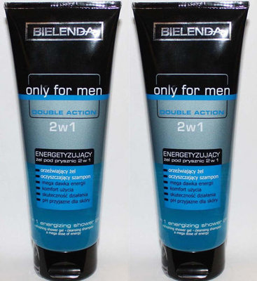2 Bielenda Only For Men Double Action  2 In 1 Energizing Shower Gel 8.8 oz Each
