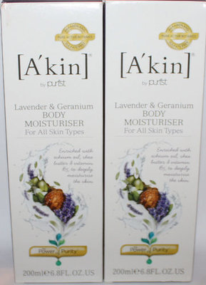 Lot Of 2 A'Kin Lavender & Geranium Body Moisturiser 6.8 oz Each (Reduced)