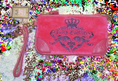 Juicy Couture VIVID 949 Dark Pink Graphic Velour Clutch YSRUS386 *Reduced*