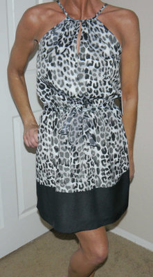 Express Women's Black Gray & White Leopard Print Lined Belted Halter Dress X-Small)