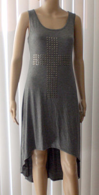 Milky Way USA Women's Gray Stud Embellished Cross Multi-Length Dress