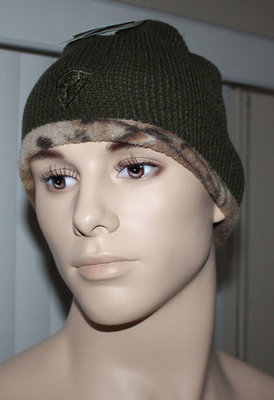 Hot Shot Men's Reversible To Camo Beanie Cap -Olive (One Size)