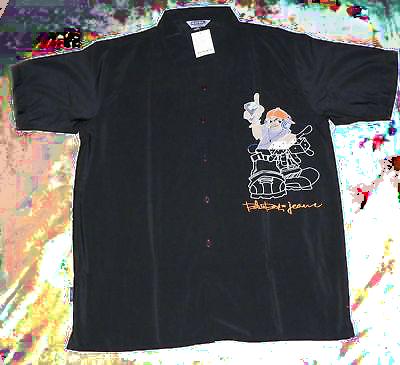 Blue Boy By Zam Men's Black Graphic Shirt (X-Large)