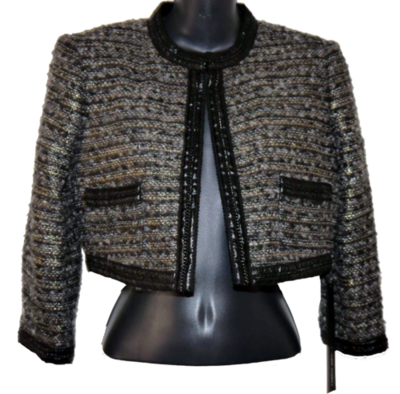 Bebe SERENA Women's Multi-Colored Tweed Cropped Jacket (Size 4) *Reduced*