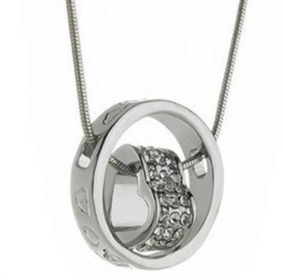 Swarovski Elements Silver Tone Encircled Heart Versatile Necklace