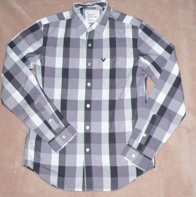 American Eagle ATHLETIC FIT Men's Plaid Shirt -Gray (Small)