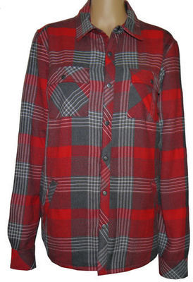 O'Neill Men's Red Plaid Snap-Front Shirt (Small)