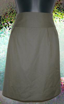 Express Women's Olive Green Above Knee Back Slit Lined Skirt (Size 10) *Reduced*