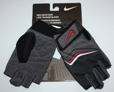 Nike Men's Core Lock Training Gloves  -Red Highlights -X-Small