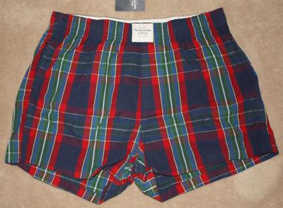 Abercrombie & Fitch Men's Multi-Colored Boxer Shorts -Blue Plaid (Small)
