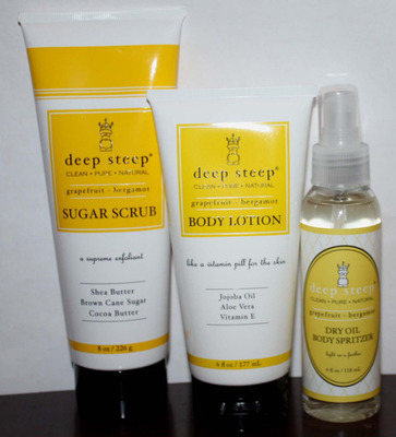 1 Deep Steep Sugar Scrub 1 Lotion and 1 Dry Oil Spritzer Grapefruit * Bergamot