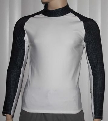 Layer 8 Men's Qwick-Dry Base Layer Mock Neck Long Sleeve Shirt _White -Size Small