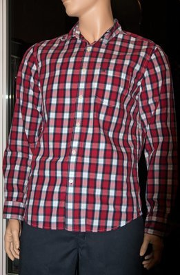 American Eagle ATHLETIC FIT Men's Plaid Shirt -Red (Large)