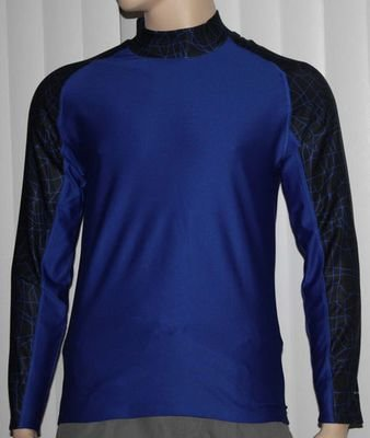 Layer 8 Men's Qwick-Dry Base Layer Mock Neck Long Sleeve Shirt _ Blue -Small