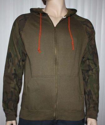 Brooklyn Trademark Mfg Co. Men's Brown Camo Accents Zip Front Hoodie Jacket -Medium
