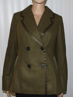 American Eagle Women's Double-Breasted Peacoat - Olive *Reduced*