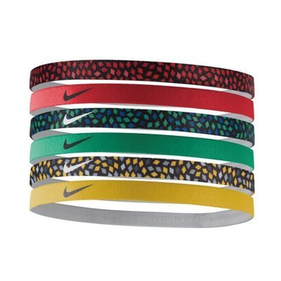 Nike 6 Pk Assorted Red/Yellow/Green/Printed Swoosh Headbands