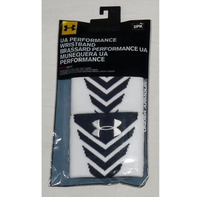 1 Pair Under Armour UA Performance Undeniable Wristbands -White & Midnight Navy