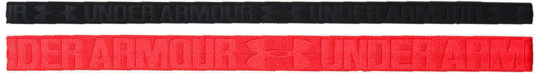 2 Pack Under Armour Women's Rocket Red/Black Embossed Headbands
