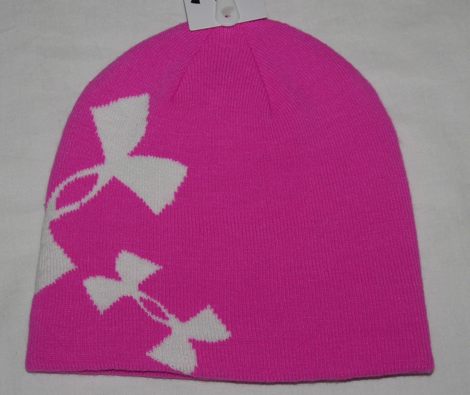 Under Armour Youth Girl's Rebel Pink/White Reversible to Gray/Black Beanie Hat
