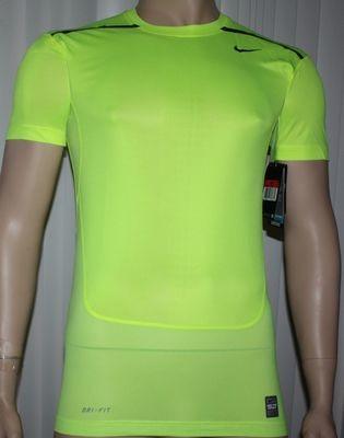 Nike Pro Combat Men's Dri-Fit HyperCool Compression Shirt Volt/Obsidian -Medium