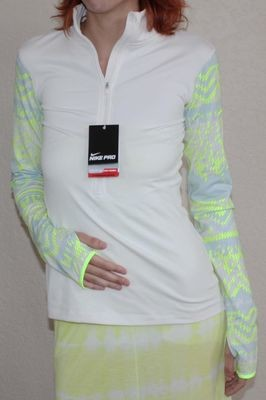 Nike Pro Hyperwarm Women's Nordic ½ Zip Cream/Volt/Blue Compression Shirt (Small)