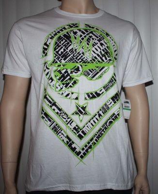 Metal Mulisha SHRED TEE Men's White With Green/Black Graphics (Small)