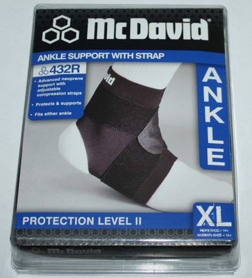 McDavid Protection Level 11 Black Ankle Support With Strap 432R (X-Large)